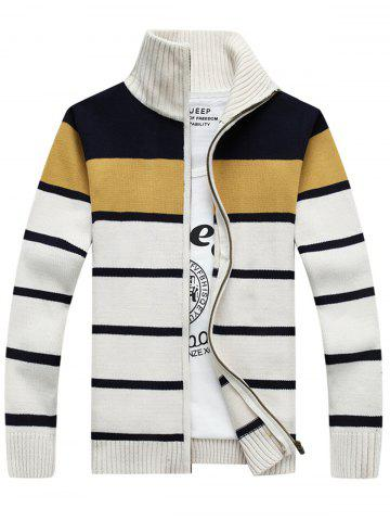Shop High Collar Stripe Cardigan - XL WHITE Mobile