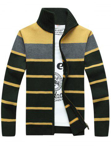 High Collar Stripe Cardigan - Green - L