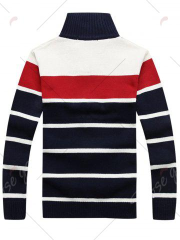 Trendy High Collar Stripe Cardigan - 2XL RED Mobile