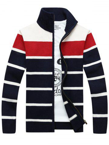 Trendy High Collar Stripe Cardigan - XL RED Mobile