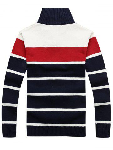 Affordable High Collar Stripe Cardigan - L RED Mobile