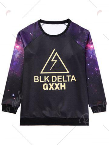 Online Galaxy Graphic Plus Size Long Sleeve T-shirt - 7XL BLACK Mobile