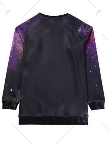 Latest Galaxy Graphic Plus Size Long Sleeve T-shirt - 7XL BLACK Mobile