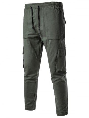 Shop Multi Pockets Nine Minutes of Cargo Pants - M ARMY GREEN Mobile