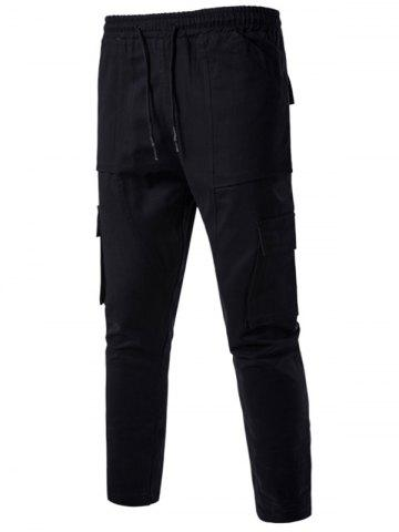 Trendy Multi Pockets Nine Minutes of Cargo Pants - 3XL BLACK Mobile