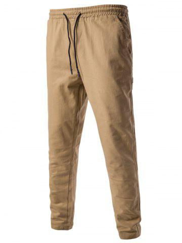 Buy Drawstring Side Pockets Harem Pants - M KHAKI Mobile