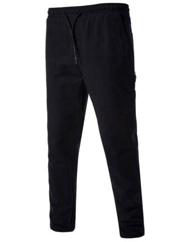 Buy Drawstring Side Pockets Harem Pants BLACK L