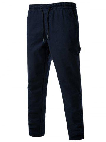New Drawstring Side Pockets Harem Pants CADETBLUE L