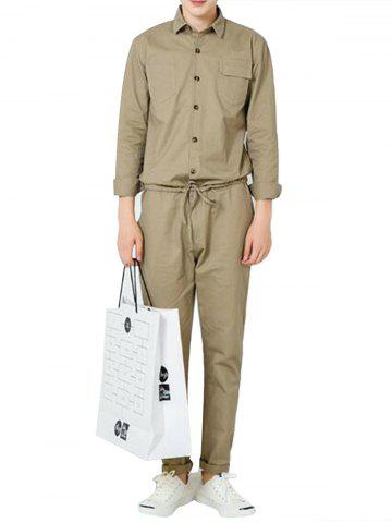 Latest Drawstring Waist Button Up Jumpsuit KHAKI XL