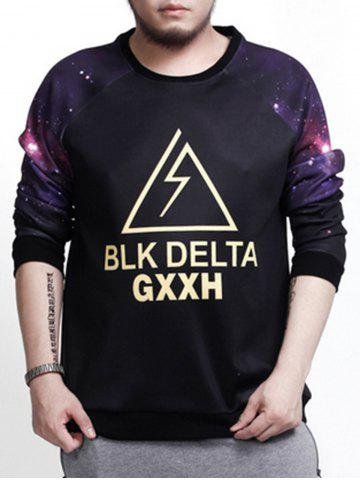 Online Galaxy Graphic Plus Size Long Sleeve T-shirt BLACK 4XL