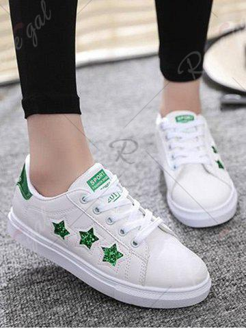 Cheap Sequins Star Pattern Flat Shoes - 39 GREEN Mobile