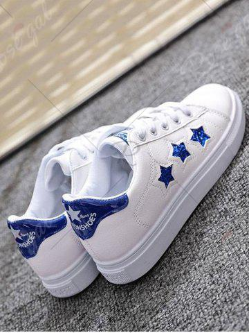 Shop Sequins Star Pattern Flat Shoes - 39 BLUE Mobile