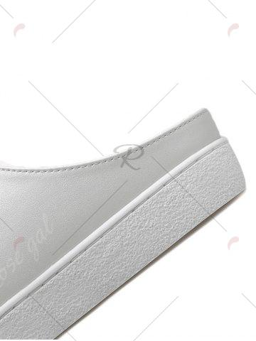 Fashion Tie Up Faux Leather Flat Shoes - 37 WHITE Mobile