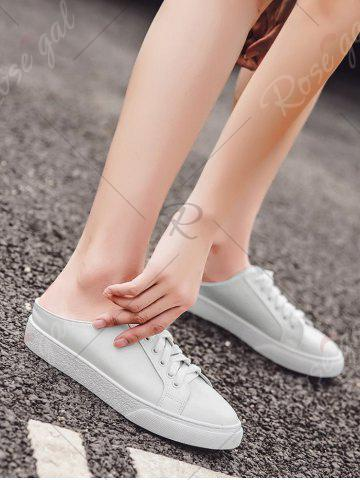 Shops Tie Up Faux Leather Flat Shoes - 37 WHITE Mobile