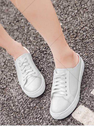 Online Tie Up Faux Leather Flat Shoes - 37 WHITE Mobile