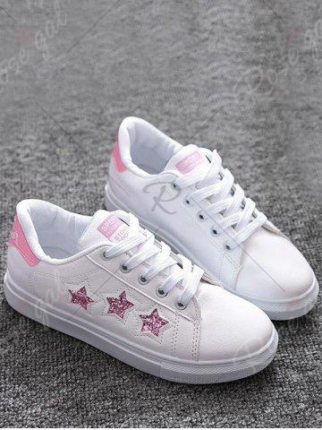 Fancy Sequins Star Pattern Flat Shoes - 39 PINK Mobile