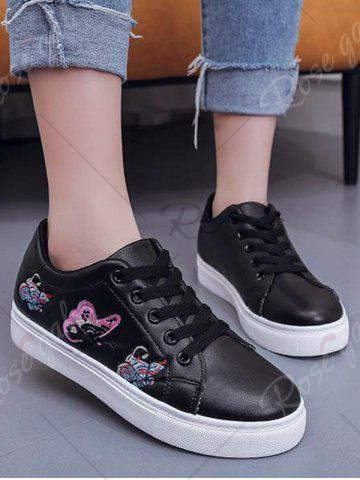 Discount Butterfly Pattern Embroidery Flat Shoes - 38 BLACK Mobile