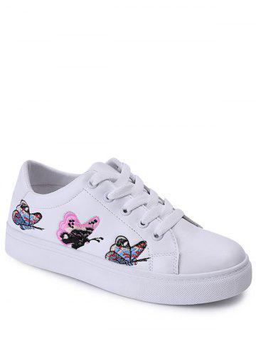 Hot Butterfly Pattern Embroidery Flat Shoes - 39 WHITE Mobile