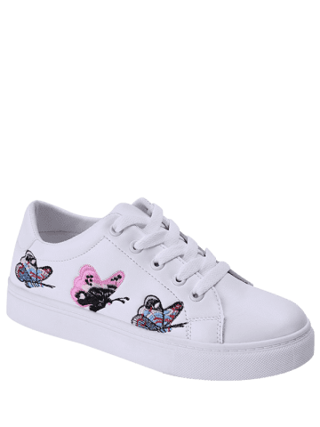 Shop Butterfly Pattern Embroidery Flat Shoes - 38 WHITE Mobile
