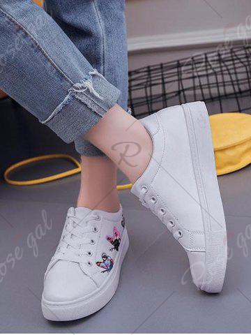 Hot Butterfly Pattern Embroidery Flat Shoes - 38 WHITE Mobile
