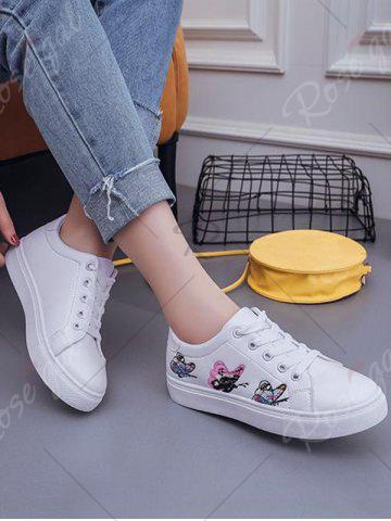 Store Butterfly Pattern Embroidery Flat Shoes - 38 WHITE Mobile