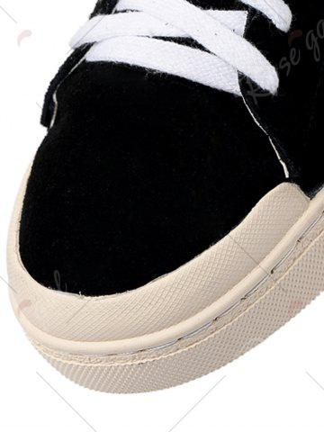 Discount Faux Suede Star Patched Flats - 37 BLACK Mobile