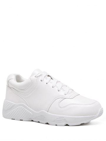 Sale Round Toe Faux Leather Sneakers WHITE 39
