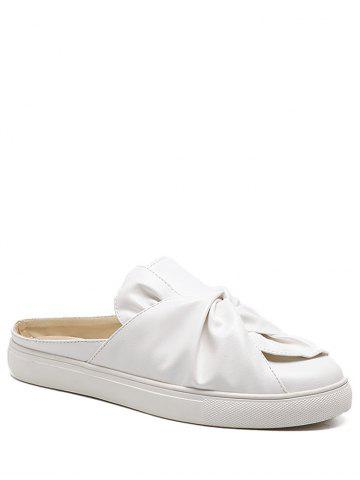 Discount Bowknot Ruched Slip On Flats - 37 WHITE Mobile