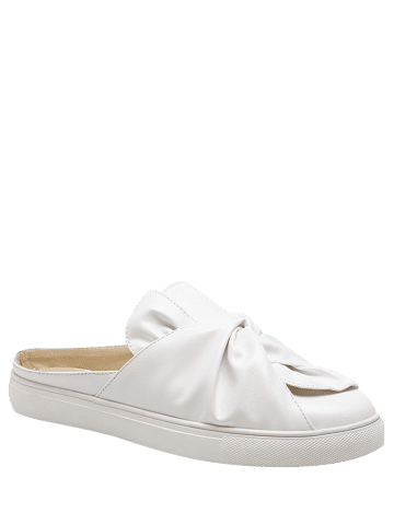 New Bowknot Ruched Slip On Flats - 37 WHITE Mobile