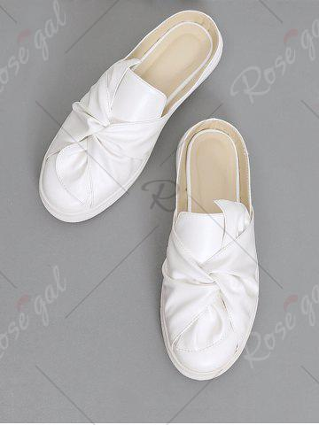 Cheap Bowknot Ruched Slip On Flats - 37 WHITE Mobile