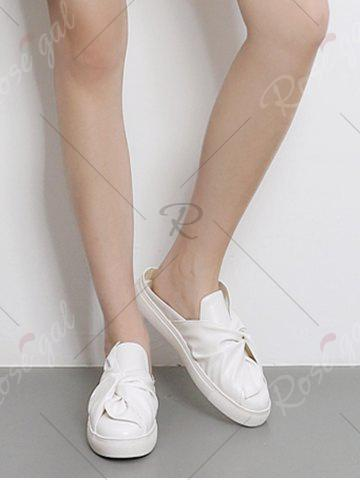 Best Bowknot Ruched Slip On Flats - 38 WHITE Mobile