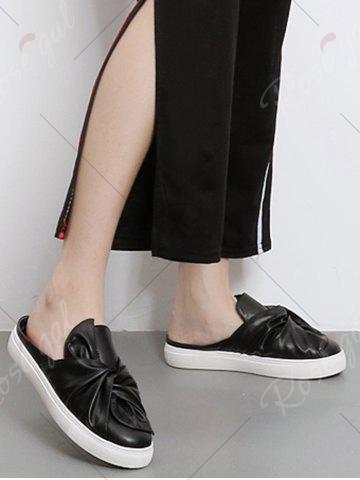 Best Bowknot Ruched Slip On Flats - 39 BLACK Mobile