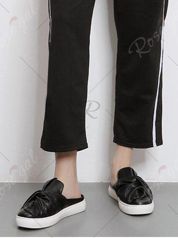 Affordable Bowknot Ruched Slip On Flats - 39 BLACK Mobile