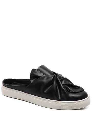 Best Bowknot Ruched Slip On Flats - 40 BLACK Mobile