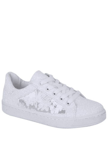 Cheap Sequins Tie Up Flat Shoes - 38 WHITE Mobile