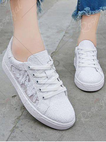 Fashion Sequins Tie Up Flat Shoes - 38 WHITE Mobile