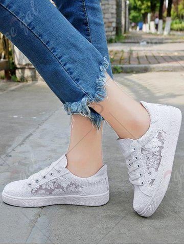 Trendy Sequins Tie Up Flat Shoes - 40 WHITE Mobile