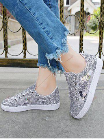 Shop Sequins Tie Up Flat Shoes - 39 SILVER Mobile