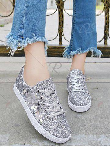 Fancy Sequins Tie Up Flat Shoes - 39 SILVER Mobile