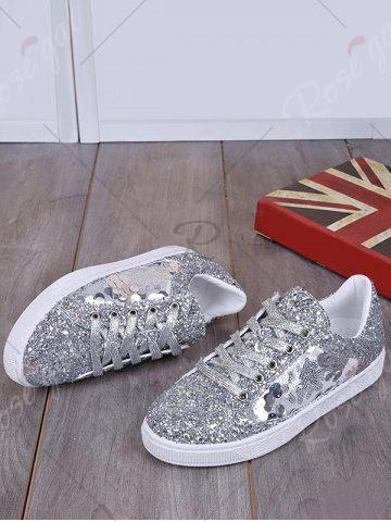 Hot Sequins Tie Up Flat Shoes - 39 SILVER Mobile
