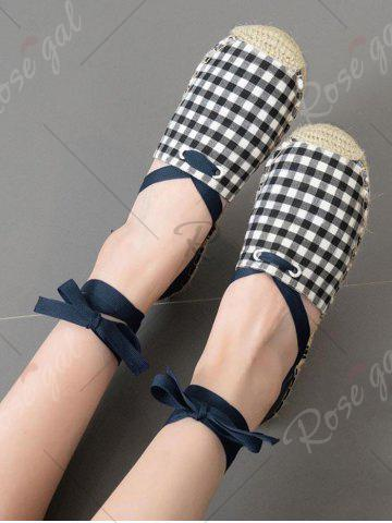 Discount Stitching Plaid Pattern Tie Up Flat Shoes - 37 CHECKED Mobile