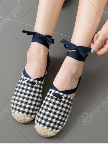 Hot Stitching Plaid Pattern Tie Up Flat Shoes - 37 CHECKED Mobile