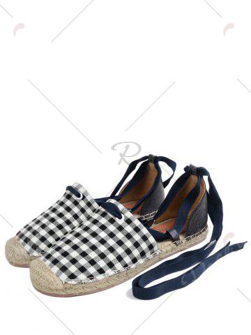 Store Stitching Plaid Pattern Tie Up Flat Shoes - 37 CHECKED Mobile