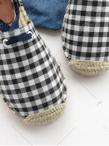 Hot Stitching Plaid Pattern Tie Up Flat Shoes - 38 CHECKED Mobile