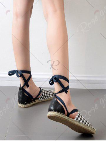 Store Stitching Plaid Pattern Tie Up Flat Shoes - 39 CHECKED Mobile