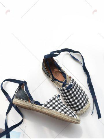 Hot Stitching Plaid Pattern Tie Up Flat Shoes - 40 CHECKED Mobile