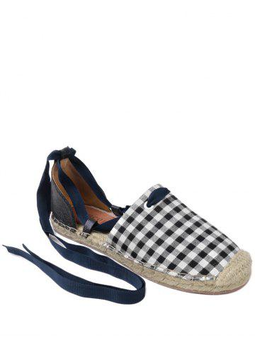 Stitching Plaid Pattern Tie Up Flat Shoes Carré 40