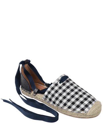 New Stitching Plaid Pattern Tie Up Flat Shoes - 40 CHECKED Mobile