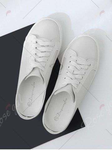 Hot Tie Up Faux Leather Flat Shoes - 38 WHITE Mobile