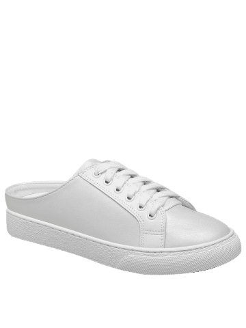 Store Tie Up Faux Leather Flat Shoes - 38 WHITE Mobile